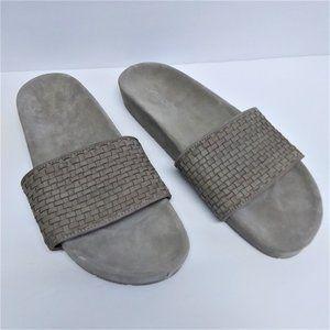 J/Slides Grey Woven Suede Slip on Sandals Sz 10M